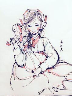 """흑요석 Obsidian on Twitter: """"Overwatch D.VA Song Hana Hanbok ver. Brushpen drawing.  손풀기로 슥슥. 오버워치 디바! 이번엔 한복을 입혀봤어요 ㅎㅎ https://t.co/MpcI3kNZym"""""""