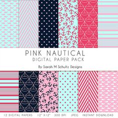 Pink Nautical Digital Paper Pack  Nautical Scrapbook Paper by BusybeesCreation, $4.49 #digitalpaper #digitalscrapbook #scrapbook