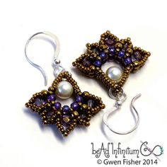 Lotus Drop Beaded Earrings Purple Pearl Bronze by gwenbeads, $29.00