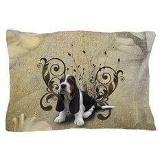 Wonderful basset with floral elements Pillow Case by nicky - CafePress
