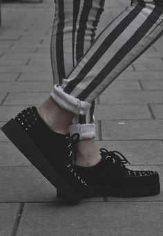 studded creepers and striped jeans  wish I was daring enough to wear those shoes