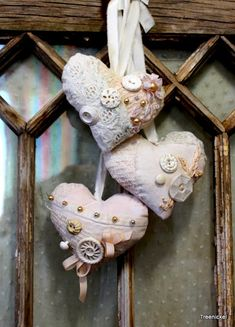 Shabby Chic Vintage Lace Hearts by Treenickel on Etsy, $30.00