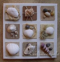 Summer Seashells Craft - Canvas With Seashell Inchies VERY CUTE craft idea for my beach bathroom theme. Especially since I have a TON of sea shells I've collected since I was a wee lad! If you love arts and crafts a person will appreciate this website! Sea Crafts, Nature Crafts, Cute Crafts, Diy And Crafts, Arts And Crafts, Food Crafts, Seashell Art, Seashell Crafts, Starfish