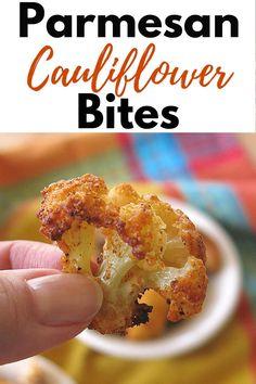 Veggie Snacks, Veggie Dishes, Vegetable Recipes, Vegetarian Recipes, Healthy Appetizers, Appetizer Recipes, Healthy Snacks, Parmesan Cauliflower, Cauliflower Bites