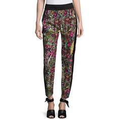 3.1 Phillip Lim Wild Things Floral-Print Pants ($450) ❤ liked on Polyvore featuring pants, apparel & accessories, floral print pants, slim fit trousers, flower print pants, floral print trousers and side stripe pants