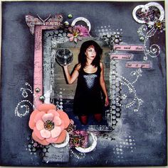 """Music theme scrapbooking layout, inspired from the song """" Somebody that I used to know"""" by Gotye."""