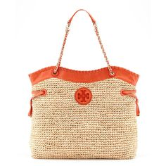 Tory Burch Marion Chain-Strap Straw Tote ($261) ❤ liked on Polyvore featuring bags, handbags, tote bags, purses, woven tote, zip tote bag, handbags totes, straw handbags and handbags purses