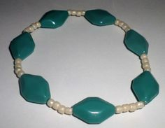 Teal and White Bead Stretch Anklet by MandyPandyGiftShop on Etsy