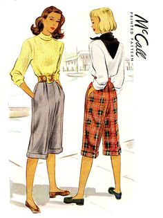 McCalls 6791, 1947 Cuffed Knee Slacks or Pedal Pushers. Inseam pockets with unusual hidden step-in opening, and pleated front.  Size: Waist 26,