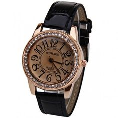 Classic Patent Leather Crystal Watch