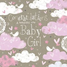 Birth Of A Baby Girl Quality Embossed Congratulations Card Ma064