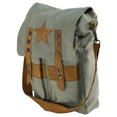Military Style Star Canvas & Leather Crossbody Tote Bookbag/Messenger/School Bag - Ideas of Bookbags Military Fashion, Military Style, Star Fashion, Fashion Bags, Day Backpacks, Crossbody Messenger Bag, Style Star, Canvas Leather, School Bags