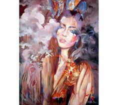 Blazing Utterance features a portrait of a young woman merging with flames and an atmospheric background.by Dimitra Milan