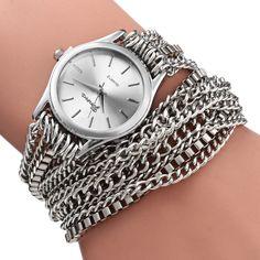 Alloy Chain Link Bracelet Women Quartz Wristwatch with Round Dial