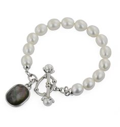 Honora Oval White Pearl Bracelet with Mother-of-Pearl Clasp