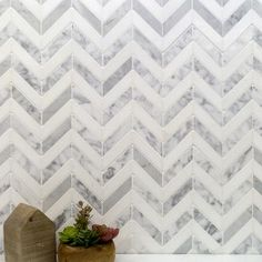 for guest bathroom floor Talon White Carrera and Thassos Marble Tile - Chevron Pattern - Stone Collections