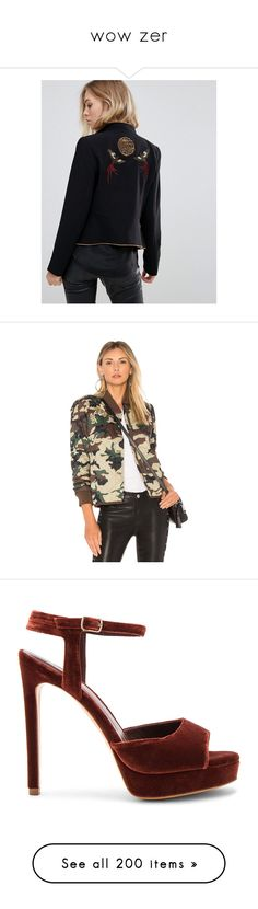 """""""wow zer"""" by pamela-martin-1 ❤ liked on Polyvore featuring outerwear, jackets, black, pocket jacket, tall jackets, stand up collar jacket, embroidery jackets, standing collar jacket, coats & jackets and embroidered jacket"""