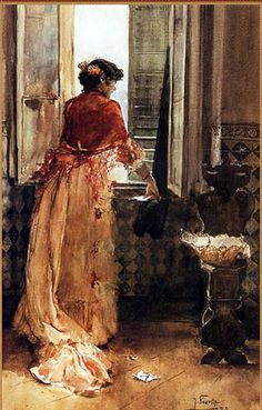 Clotilde García del Castillo by the Window (Clotilde),by her husband Joaquín Sorolla y Bastida 1888. Impressionism