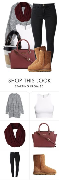 """""""Untitled #789"""" by pinkliquor-xo ❤ liked on Polyvore featuring H&M, OUTRAGE, MICHAEL Michael Kors, Acne Studios and UGG Australia"""