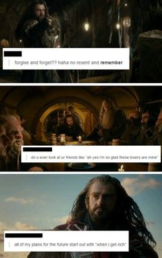 The Hobbit + text posts: Thorin. these are too funny Gandalf, Legolas, John Barrowman, J. R. R. Tolkien, Tolkien Quotes, O Hobbit, Hobbit Funny, Concerning Hobbits, Bagginshield
