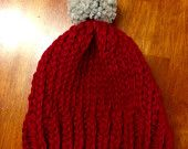 Chunky knit beanie with medium pompon - red and grey - handmade - hat knitwear - fall, winter, snow, holidays