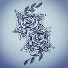 New traditional roses tattoo sketch by - Ranz