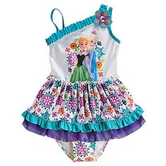 Disney Frozen Elsa Anna Girl One Piece Swimsuit 56 *** Want additional info? Click on the image.