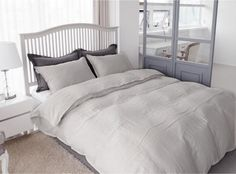 Light Dove Gray Colored Linen Twin / Queen Size Bedding Set by MagnoliaAmor on Etsy
