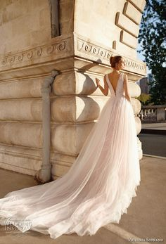 victoria soprano 2019 bridal sleeveless deep plunging v neck lightly embellished bodice tulle skirt romantic blush a  line wedding dress chapel train (10) bv -- Victoria Soprano 2019 Wedding Dresses | Wedding Inspirasi #wedding #weddings #bridal #weddingdress #bride ~