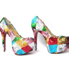 Christian Louboutin Daffodile Brodee 160mm Bling Sequin Pumps Multi-Color