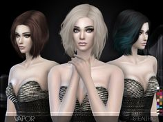 Vapor (Female Hair): Download • 18 colors • Hat support • All LOD's • Teen…