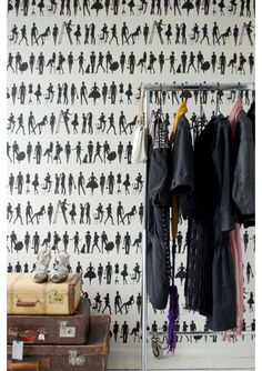 "Fashion Wallpaper by Ferm Living I want to turn one of our bedrooms into a fabulous ""closet""."