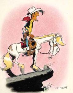 Lucky Luke & Jolly Jumper (by Morris) Cartoon Disney, Cartoon Crazy, Disney Cartoon Characters, Bd Lucky Luke, Comic Character, Character Design, Serpieri, Children's Comics, Classic Comics