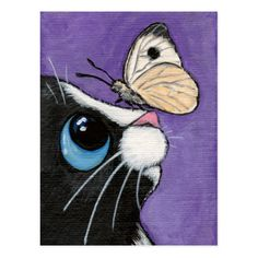 Diamond Painting Black and White Cat Eyes and Butterflies Paint with Diamonds Art Crystal Craft Decor Cat Drawing, Painting & Drawing, Rock Painting, Butterfly Painting, Art Et Illustration, Diy Canvas Art, Whimsical Art, Painting For Kids, Rock Art