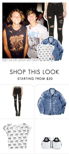 """night out with ashton and calum"" by zalix ❤ liked on Polyvore featuring True Religion, Aéropostale and adidas"