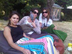 Margherita Missoni, Tatiana Santo Domingo and Dasha Zhukova with Josephine the Pigeon in Venice