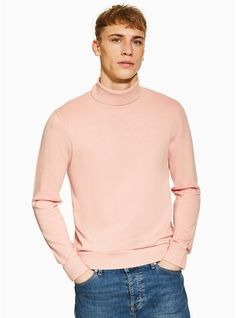 34b4a380be0f27 Mens Pink Essential Roll Neck Jumper Roll Neck Jumpers, Mens Jumpers, Pink  Sweater,