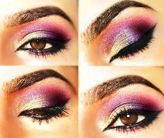 Brown eyes colorful eyeshadow