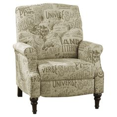Perfect on its own or as an eye-catching addition to your living room seating group, this wood-framed recliner showcases beige upholstery with an elegant scr...