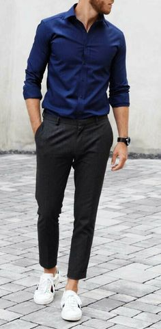 30 Casual Mens Outfits Ideas with White Sneakers Formal Men Outfit, Casual Wear For Men, Stylish Mens Outfits, Men Formal, Casual Outfits, Formal Dresses For Men, Best White Sneakers, White Sneakers Outfit, Men Sneakers