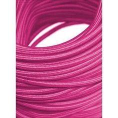 fio cabo em tecido para pendentes colorido rosa kit 5 metros