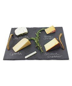 Wind and Weather Natural Slate Cheese Board with Chalk | zulily