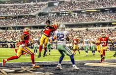 """San Francisco has a rivalry with Dallas that dates back to 1960 and includes one of the most memorable plays of all time, """"The Catch"""". 49ers Players, Forty Niners, Patrick Willis, Jason Witten, Sports Fanatics, Football Pictures, San Francisco 49ers, Dallas Cowboys, Football Team"""