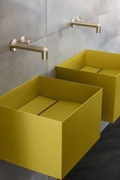 Furniture, Surfaces, and Ceramics MOAB 80 - Brix - italiana - Galassia @ Salone del Bagno Bathroom Spa, Bathroom Toilets, Modern Bathroom, Bad Inspiration, Bathroom Inspiration, Interior Inspiration, Furniture Inspiration, Yellow Bathrooms, Vintage Bathrooms