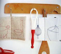 sashiko zakka. I love this use for sashiko stitching!