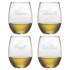 Cheers Stemless Wine Glass (Set of 4)