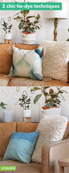 Tie dye toss pillows for a fun & funky addition to your décor. Try different dying techniques to vary the looks, then add tassels for a boho vibe.
