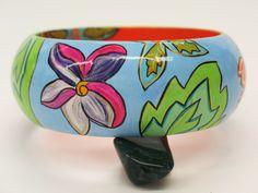 Flower Bangle Wearable Art Tiki Orange MicheleACaron on Etsy, $125.00