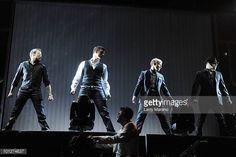 Howie Dorough Nick Carter Brian Littrell and AJ Mclean of the Backstreet Boys perform on the opening night of their US tour at American Airlines...
