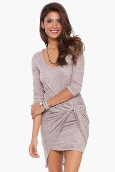 Lawrence Knot Dress in Taupe | Necessary Clothing